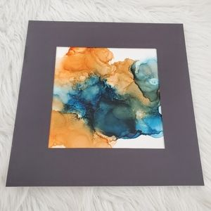 Original Alcohol Ink on Grafix and Matted in Black